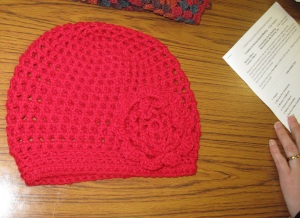 A learner completed her new hat with motif.